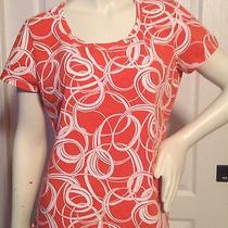 Talbots M Orange and White Scoop Neck Shirt Top Blouse Photo