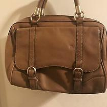 Talbots Medium Brown Leather Shoulder Handbag Tote Purse With Double Straps. Photo