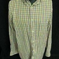 Talbots Mens White Burgundy Gray Yellow Long Sleeve Button Down Shirt Xl Photo