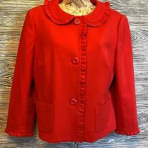 Talbots Mod Gogo Red Peter Pan Collar Military Moto Cape Blazer M Jacket Size 8 Photo