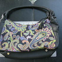 Talbots Multicolor Paisley and Black Leather Hobo Style Small Handbag Very Clean Photo