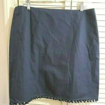 Talbots Navy Blue Cotton Spandex Pencil Straight Skirt W/ Pom Pom Trim Sz 16 Photo