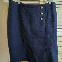 Talbots Navy Blue Fringed Edges Pencil Straight Skirt  Gold Tone Buttons Sz 14  Photo