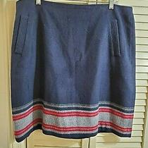Talbots Navy Blue Pencil Straight Skirt W/ Striped Border Wool Blend Sz 16 Photo