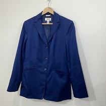 Talbots  Navy Stretch Single Breasted Blazer - Jacket  Cotton Blend  Size 4 Photo