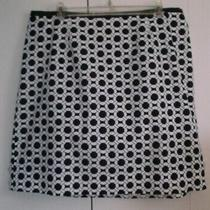 Talbots Navy White Cotton Elastic Waist Skirt Sz 14 W Lknew Photo