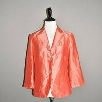 Talbots New 198 Salmon Pink Silk Blend 2 Button Blazer Jacket Size 2  Photo