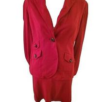 Talbots New Size 12 Petites Blazer Skirt 2 Piece Suit Red Pockets Buttons... Photo