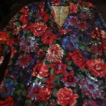 Talbots New Size Xl Ladies Floral Blouse Casual Long Sleeve 100% Cotton. Photo