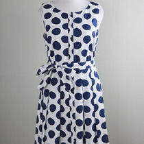 Talbots Nwt 149 Navy Polka Dot Bow Belted Pleated a-Line Dress Size 12 Photo