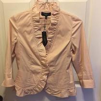 Talbots Nwt Cotton Stretch Ruffle Jacket / Blazer W/pockets Sz P4 Blush / Pink  Photo