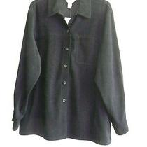 Talbots Nwt Sueded Poly Shirt Jacket/ Size M-L / Black Photo