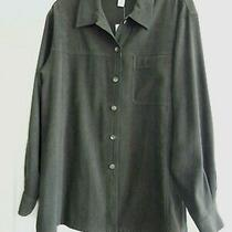 Talbots Nwt Sueded Poly Shirt Jacket/ Size M-L / Green Photo