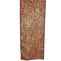 Talbots Oblong Rectangle Scarf Abstract Brown Red Beige 59 by 12 Inches Photo