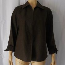 Talbots Open Jacket Size Medium Brown 100% Pure Irish Linen Photo