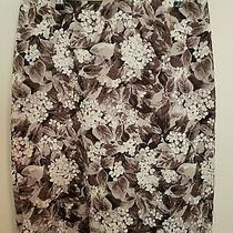 Talbots Pencil Skirt 16 Gray White Floral Unlined Slit Midi Zipper in Back  Photo