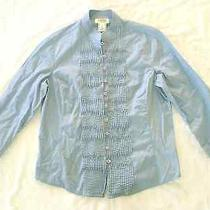 Talbots Petites - Euc Blue Shirt /blouse Pin Tucks Front 3/4 Sleeve Cotton Pm Photo