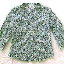 Talbots Petites - Euc Thin Aqua Blue Pattern Shirt /blouse 3/4 Sleeve Cotton Pp Photo