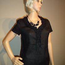 Talbots Petites High-End Black Linen v-Neck Blouse W/ruffle Women's Size 4/p Photo