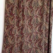 Talbots Petites Ladies Silk Paisley Skirt 6 Red/brown Multi Lined Hidden Zipper Photo