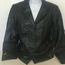 Talbots Petites Leather/polyester Black Women's Jacket Size 6 C1 Photo