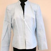 Talbots Petites Light Blue Cotton Long Sleeve Lined Zip Front Blazer Sz 8p F832 Photo