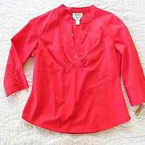 Talbots Petites Nwt Red Shirt /blouse 3/4 Sleeve Cotton Spandex Pm Photo