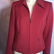 Talbots Petites Red Solid Quilted Blazer Faux Pockets Zip Jacket 10 Photo