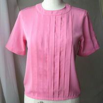 Talbots Petites Short Sleeve Pink Blouse Button Back Nice Top Sz 4 Photo