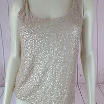 Talbots Petites Tank Top S Gold Sequin Pullover Stretch Knit Rayon Lyocell New Photo