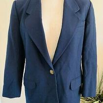 Talbots Petites Women's Size 4 Petite 4p Navy Blue Lined Wool Blazer Jacket New  Photo