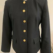 Talbots Petites Women's Size 8 P Black 2 Pocket 5 Button Wool Blazer Jacket New Photo