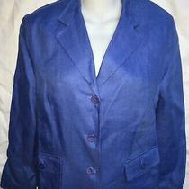 Talbots Petites Womens Jacket Blazer Blue 100% Irish Linen Lined Size 10 P Photo