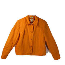 Talbots Petites Womens Orange Irish Linen Button Front Blazer Jacket Size 8 Photo