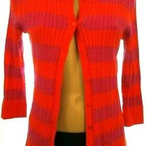 Talbots Petties Sp Small 3/4 Sleeve Striped Button Up Cardigan Sweater Photo