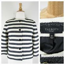 Talbots Plus Size Petite Black White Striped Tweed Blazer Jacket Size 16p Career Photo