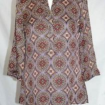 Talbots - Ps - Multi-Color Stain Glass Geometric Print - Polyester Tunic Top Photo