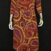 Talbots Purple/brown Paisley Print v-Neck 3/4 Sleeve Stretch Sheath Dress Sz 6 Photo
