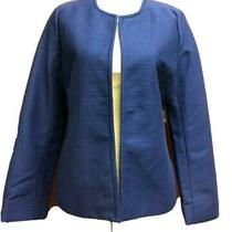 Talbots Royal Blue Cardigan Jacket Size 10 Open Front Cotton Blend Lined New Photo