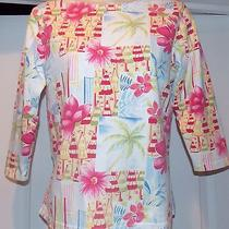Talbots S Knit Tropical Beachy Print Knit Pullover Shirt Top Blouse Pretty Photo
