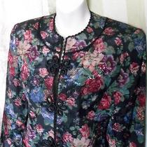 Talbots Sara Campbell Tapestry Jacket 3 Chinese Knot Button Blazer Black Sz 6 Photo