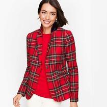 Talbots Shetland Wool Blazer Red Christmas Plaid 10 Velvet Trim Lined Nwt 189 Photo