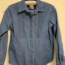 Talbots Shirt Size Ps Petite Small Denim Button Down Blue Long Sleeve Top Photo