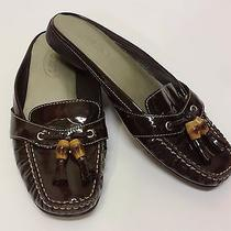 Talbots Shoes Womens Brown Patent Leather Slide on Mules Tassle Sz 6.5 M  B2 Photo