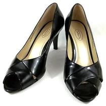 Talbots Shoes Womens Size 10 B Black Patent Leather Peep Toe Pump Heels Photo