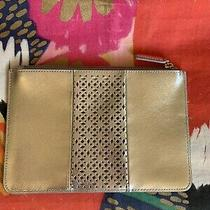 Talbots Silver Leather Makeup Bag Evening Clutch Nwot Photo