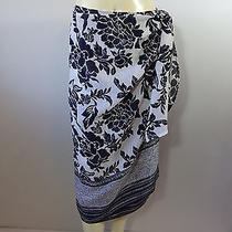 Talbots Size 14 P Wrap Skirt Blue White Floral Sarong Photo