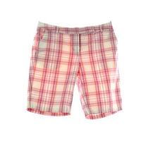 Talbots Size 2 Petite Pink Plaid Stretch Walking Bermuda Tab Waist Casual Shorts Photo