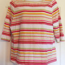 Talbots Size 2x Multi Stripes Pink & Green on 3/4 Sleeve Knit Shirt Photo