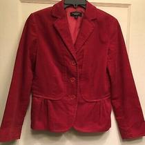 Talbots Size 6 Red Corduroy Three Button Long Sleeve Women Peplum Blazer Jacket Photo